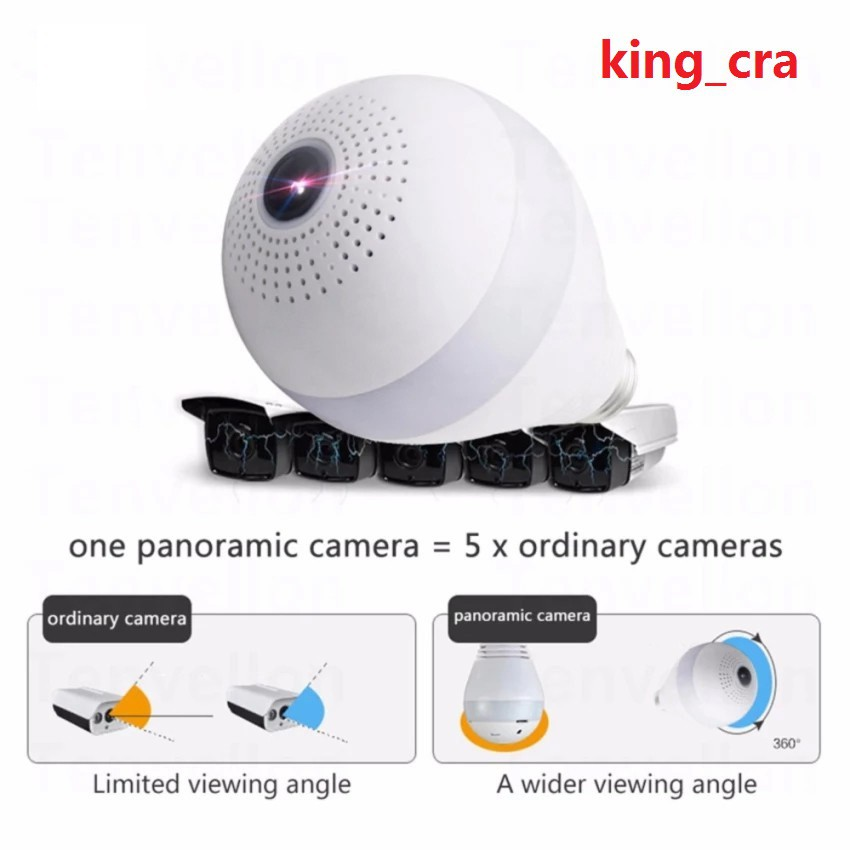 Light Bulb WI-FI V380 Camera A9 1080P PH CCTV Wifi Smart Camera