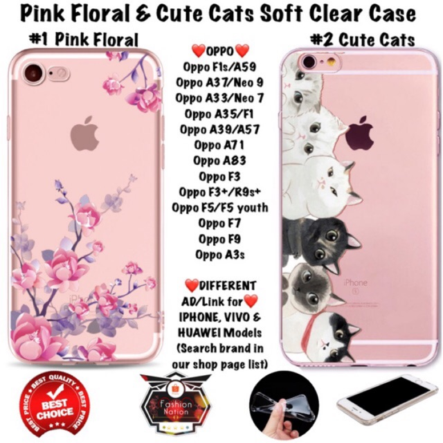 Floral Cats OPPO Case F1s A3s A33 A37 A39 A57 A71 A83 F1 F3 Plus F5 F7 F9  youth iphone 5c 5s 6 Plus