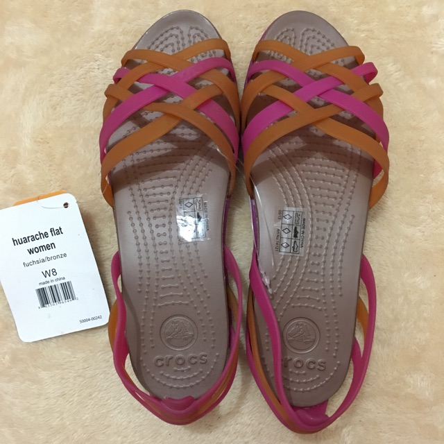 db58c050b8af Authentic Crocs Huarache Flat Women in Color Fuschia Bronze