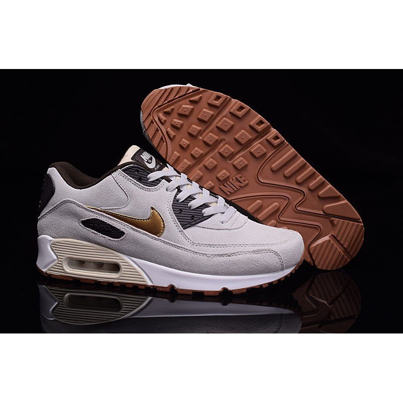 MensWomens Nike Air Max 90 Premium Running Shoes String GoldGrainDark Storm 818598 200