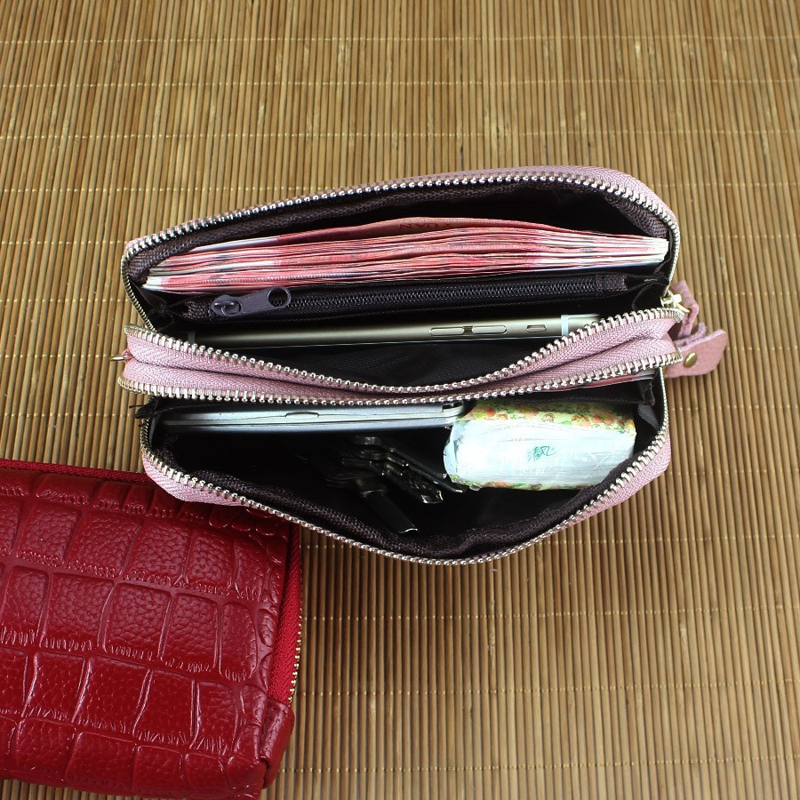 68fb3d0dece Fashion women leather clutch bag double zip wallet