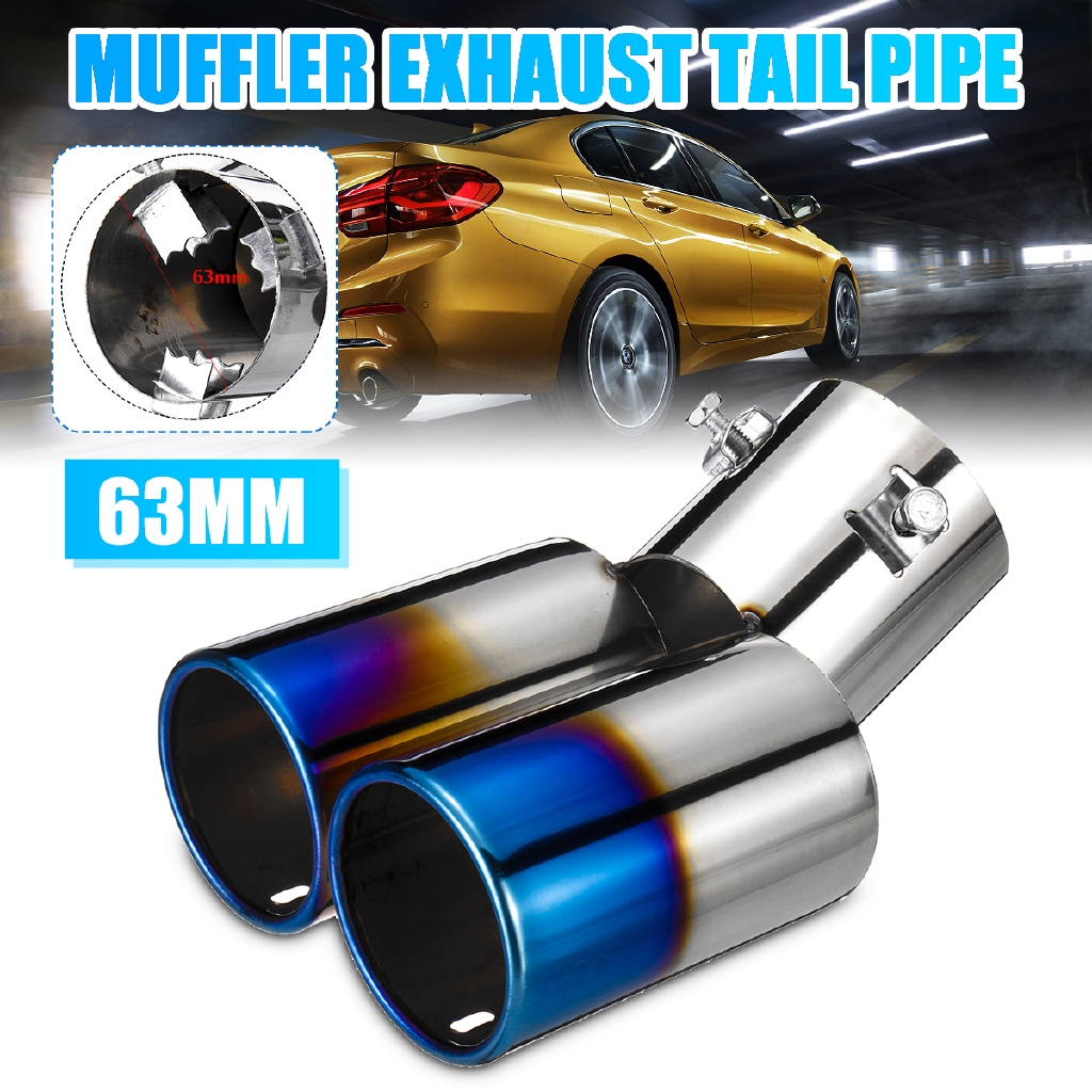 "2.5/"" Inlet Chrome Stainless Steel Car SUV Dual Exhaust Muffler Tip Tail Pipe"