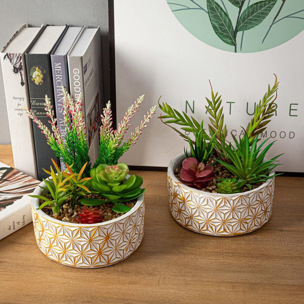 White And Gold Lux Garden Faux Succulent Arrangement With Golden Floral Concrete Pot Desk Plant Shopee Philippines