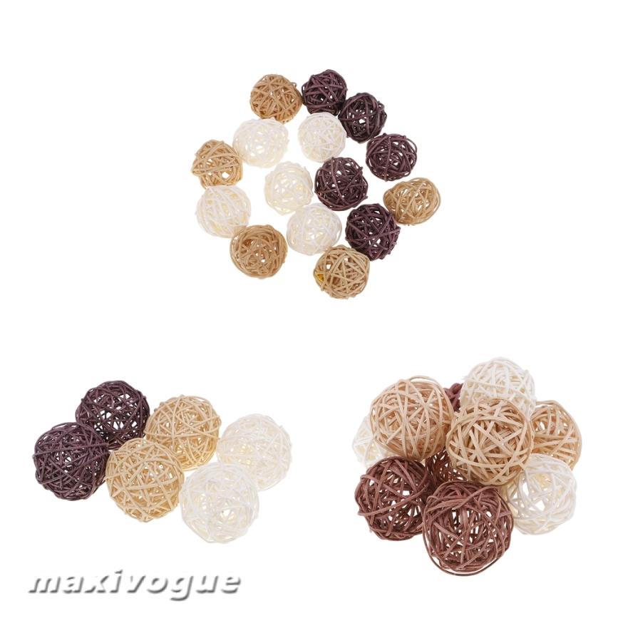 10Pcs Natural Simple Rattan Wicker Balls Decorative Spheres Rattan Twig 5 CM