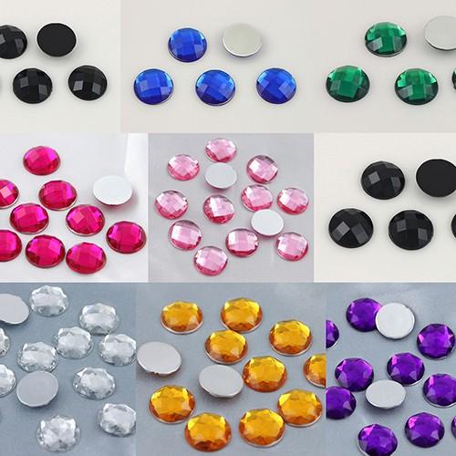 200pcs 6mm Acrylic rhinestone Round crystal  flatback Beads No Hole ZZ49
