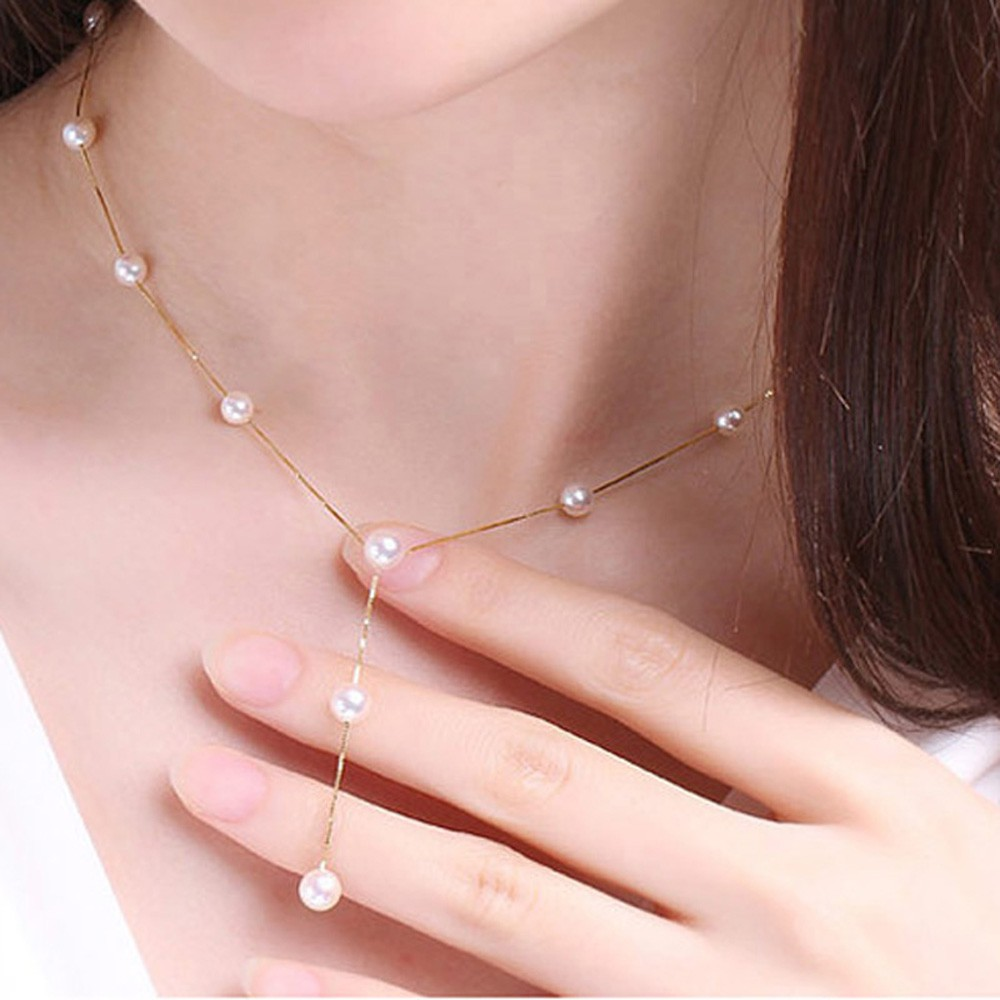 Multilayer Fashion Pearl Necklace Bracelet Earrings Gold Jewelry Set  In LS