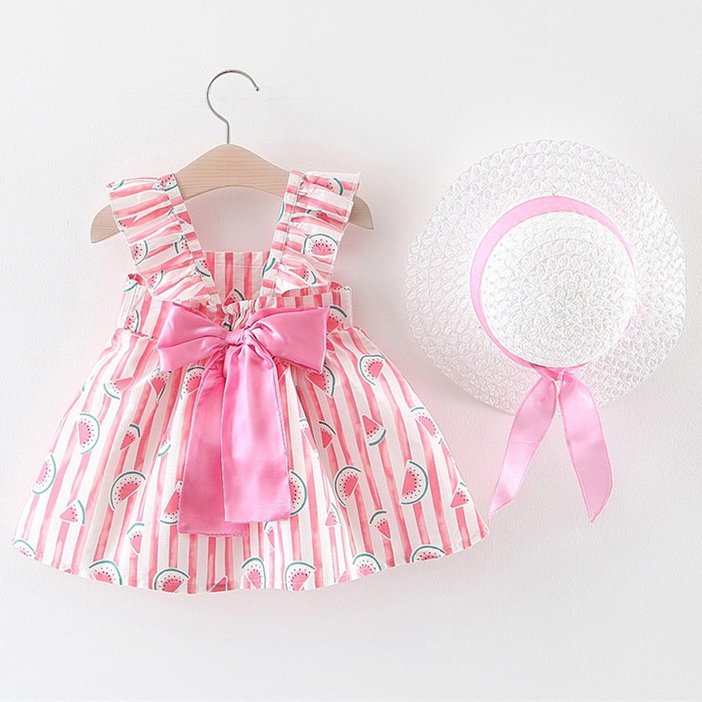 Toddler Baby Kids Girls Floral Printed Bow Sleeveless Princess Dress Hat Outfits