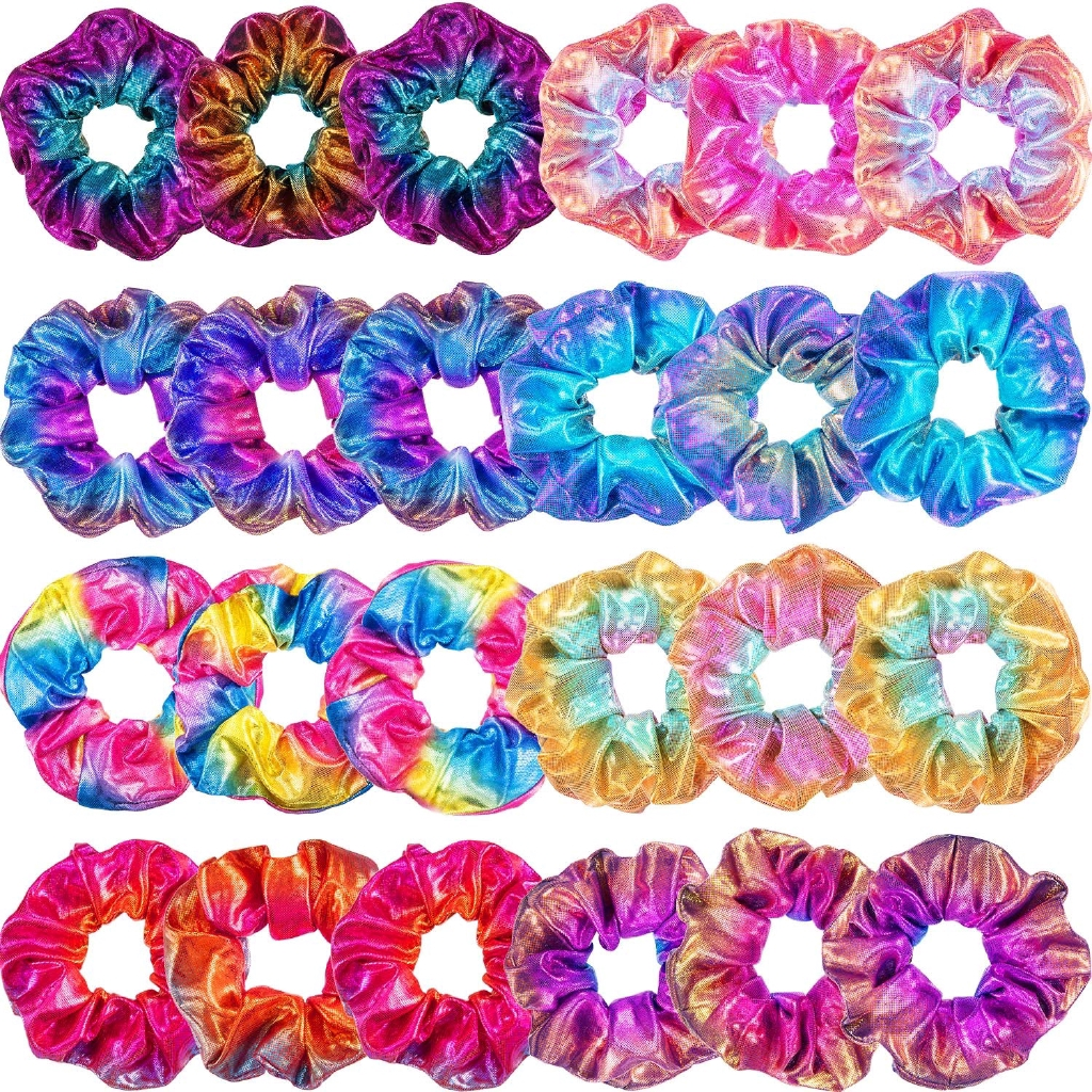 4//8x Hair Scrunchies Shiny Metallic Hair Bands Scrunchy Hair Ties Ropes Hairband