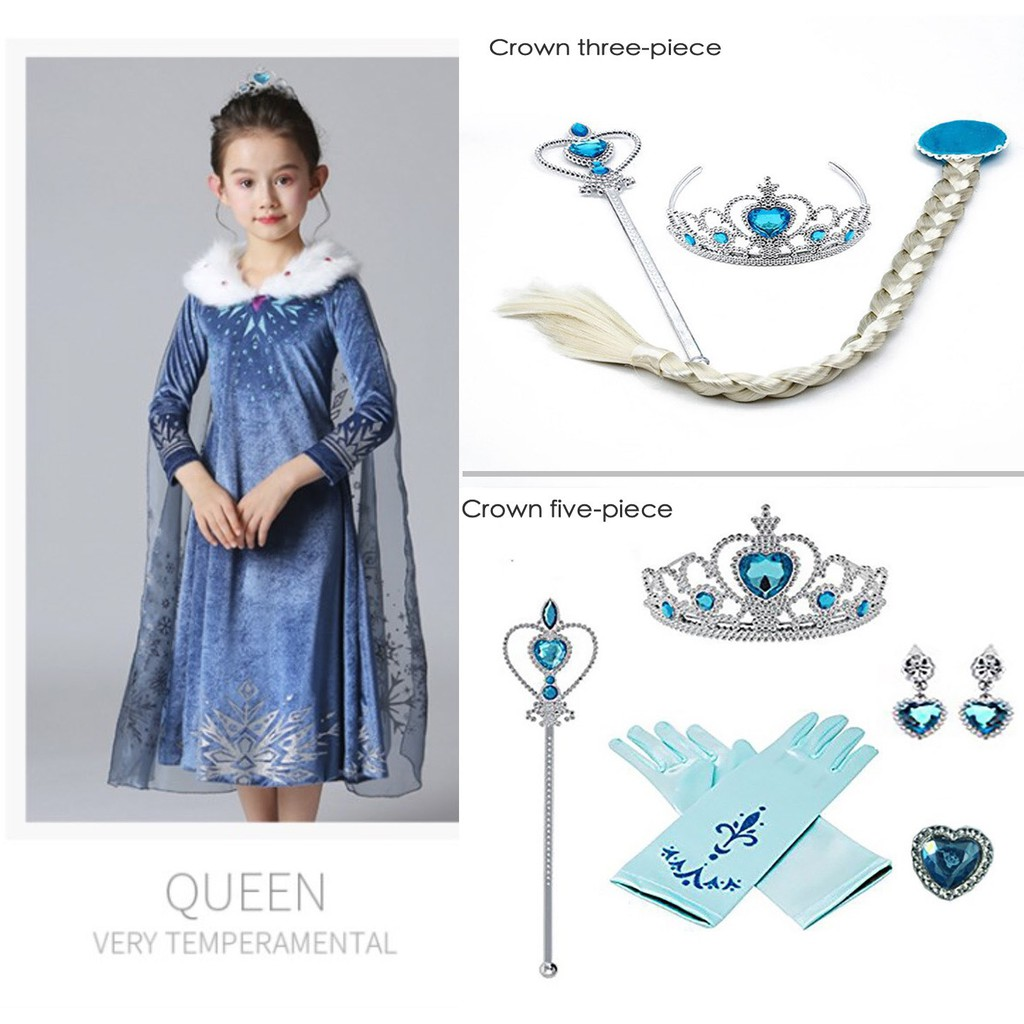 ELSA Frozen Disney Princess Girls Kids Party Costume Yr 3-9 Dress+Necklace Set