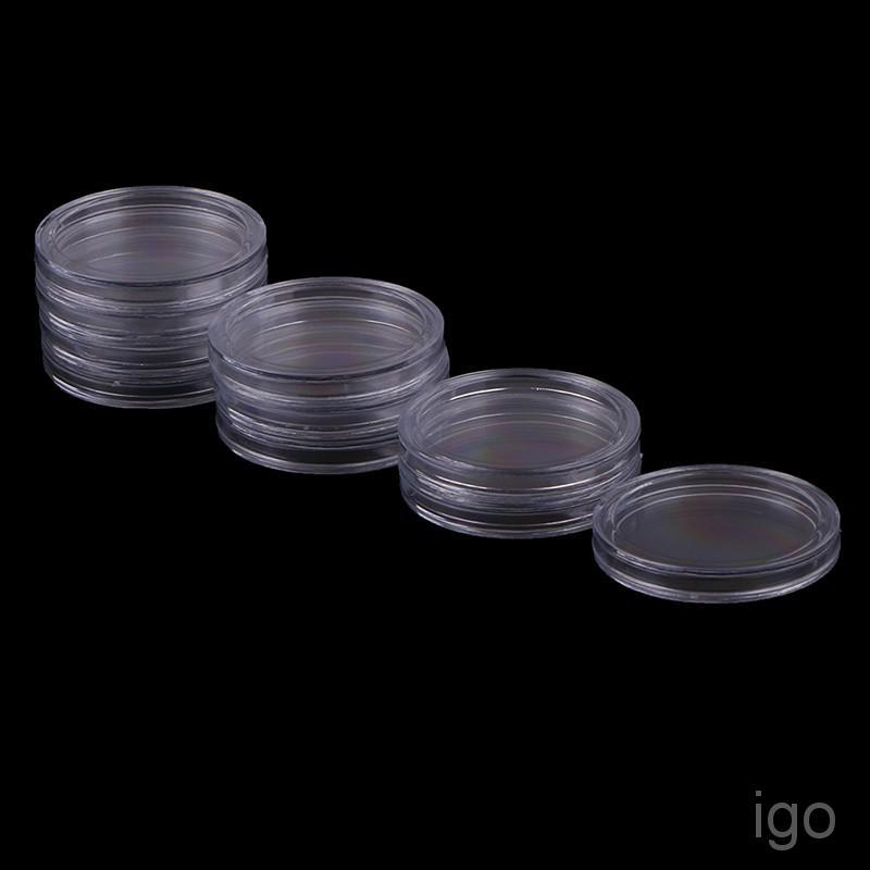 10Pcs 32mm plastic round applied clear cases coin storage capsules holder BE
