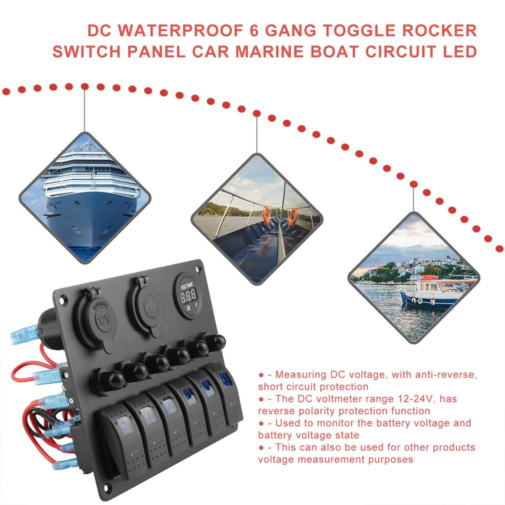 Dc Waterproof 6 Gang Toggle Rocker Switch Panel Car Marine Boat Circuit Led In Solarenergie Erneuerbare Energie
