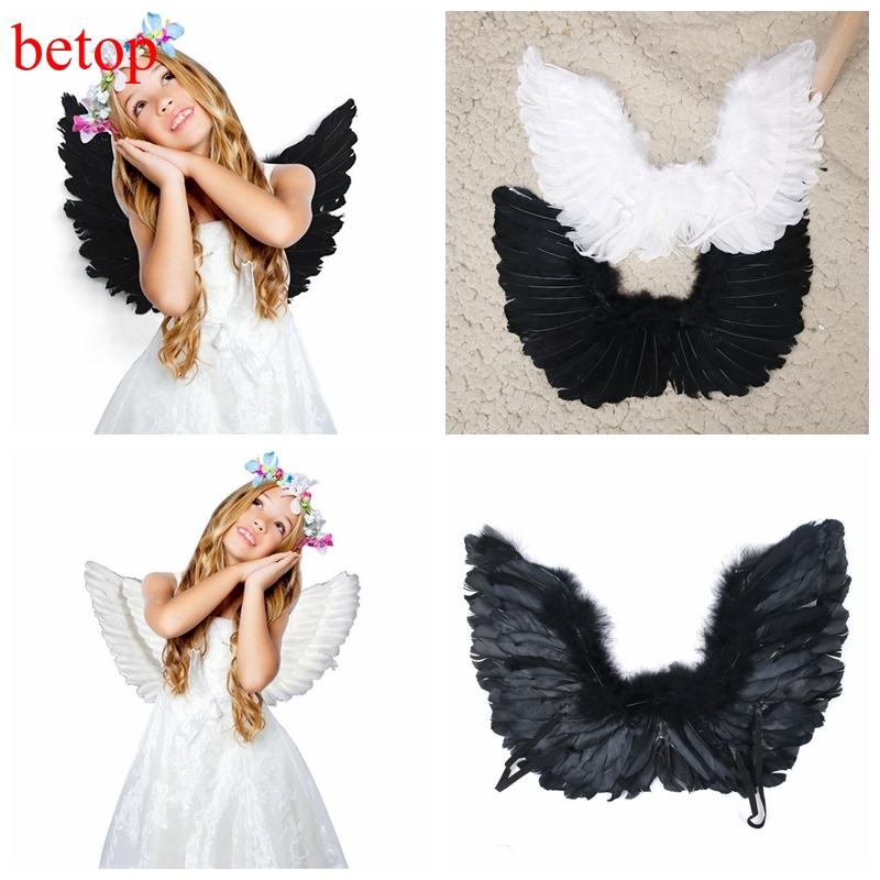 Adult Kid Angel Wings Feather Fairy Night Party Fancy Dress Costume Cosplay Prop