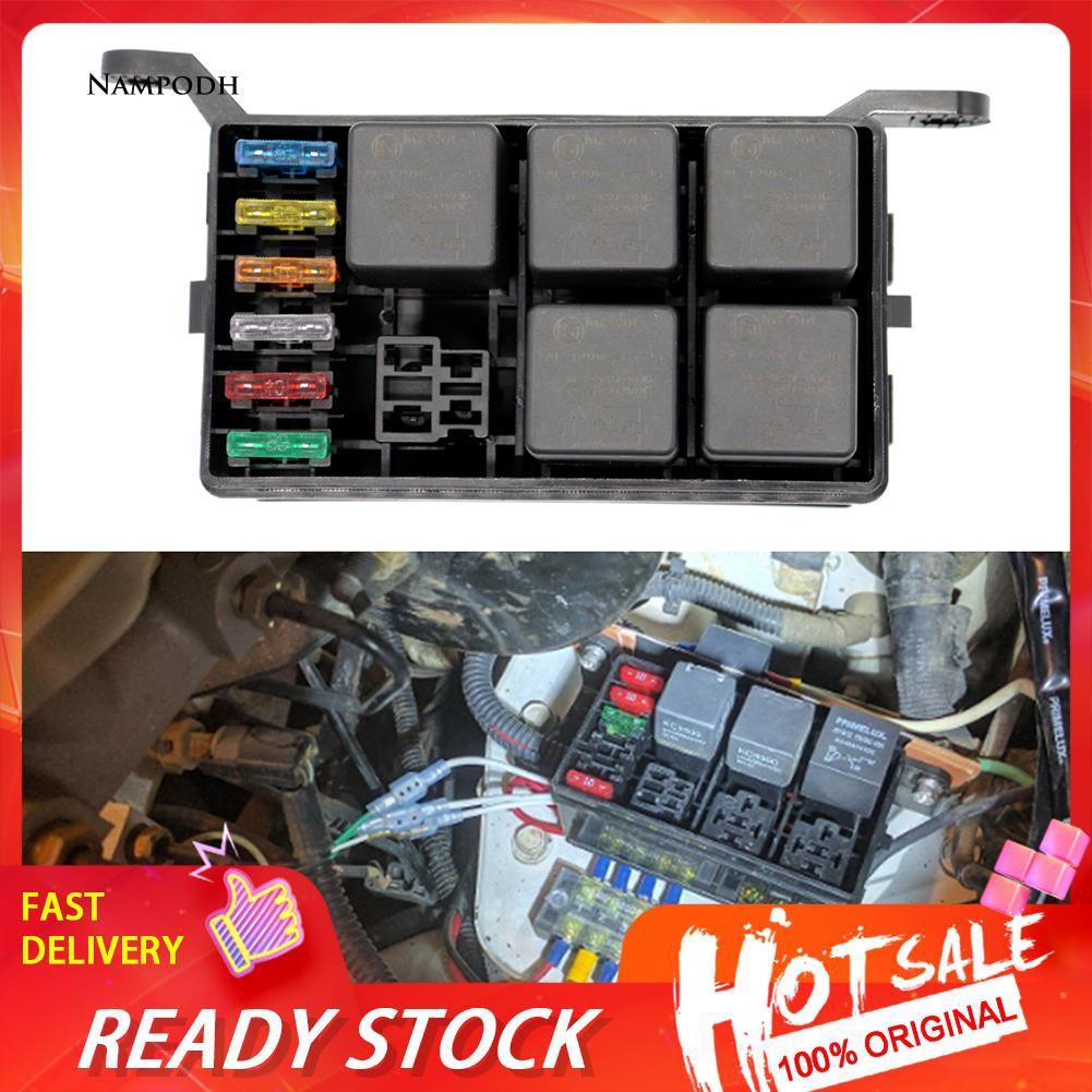 ✌np 6 way automobile car auto 12v fuse box relay holder spade terminals accessory pc board fuse holder relay holder fuse box terminals #6