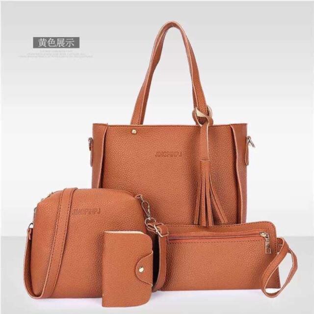 4 in 1 Korean Bag Tassel Tote Bag Leather Shoulder Bag Set  d5bcc8d539deb