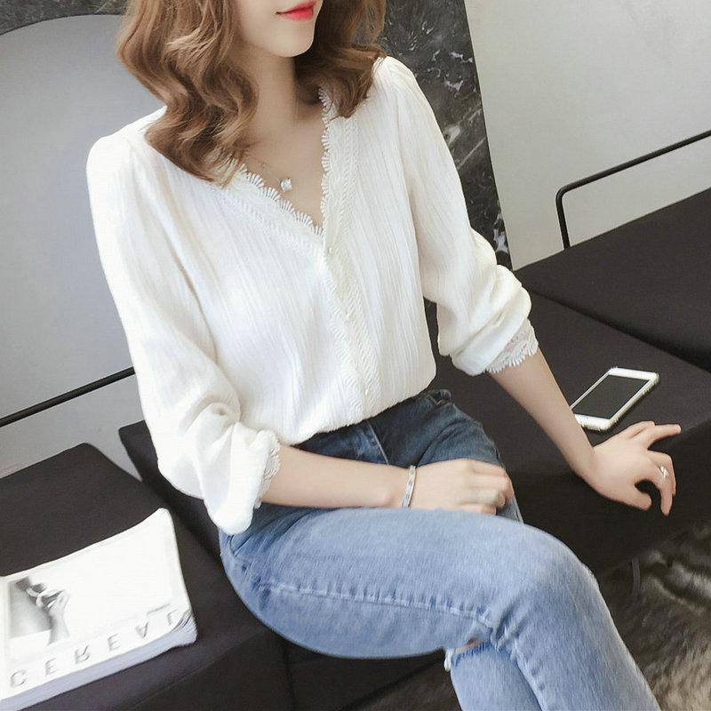 169130169f14 Korean Style Women Long Sleeve V Neck White Lace Blouse Top   Shopee  Philippines