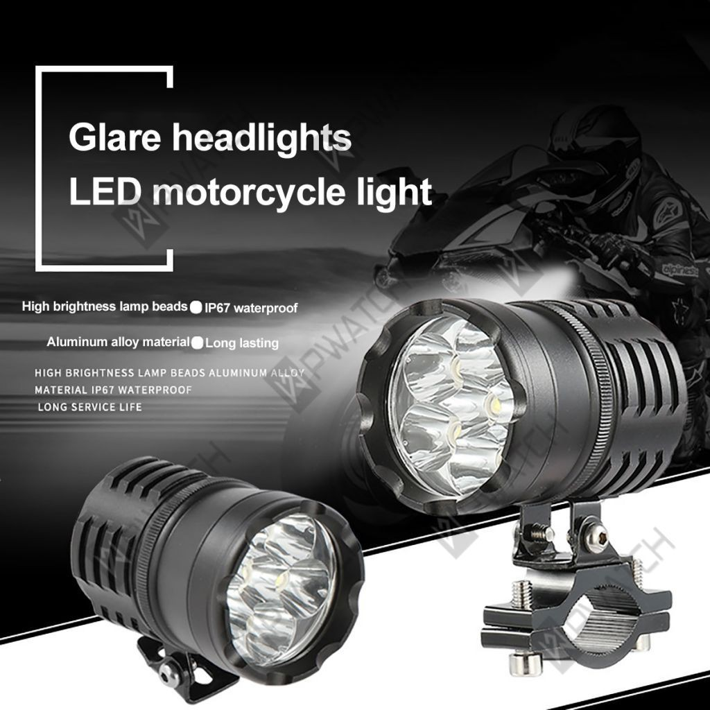 Motorcycle Headlight 80W 3200LM 6500K 6 LED Motorcycle Boat Spot Driving Headlight Motorbike Fog Head Light Lamp With Switch Color : 1 light No switch