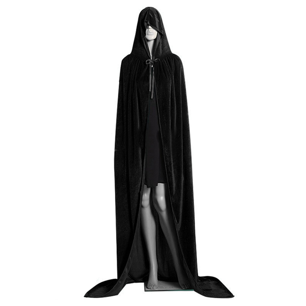 Medieval Hooded Cloak Cosplay Long Robe Masquerade Witch Halloween  Witchcraft