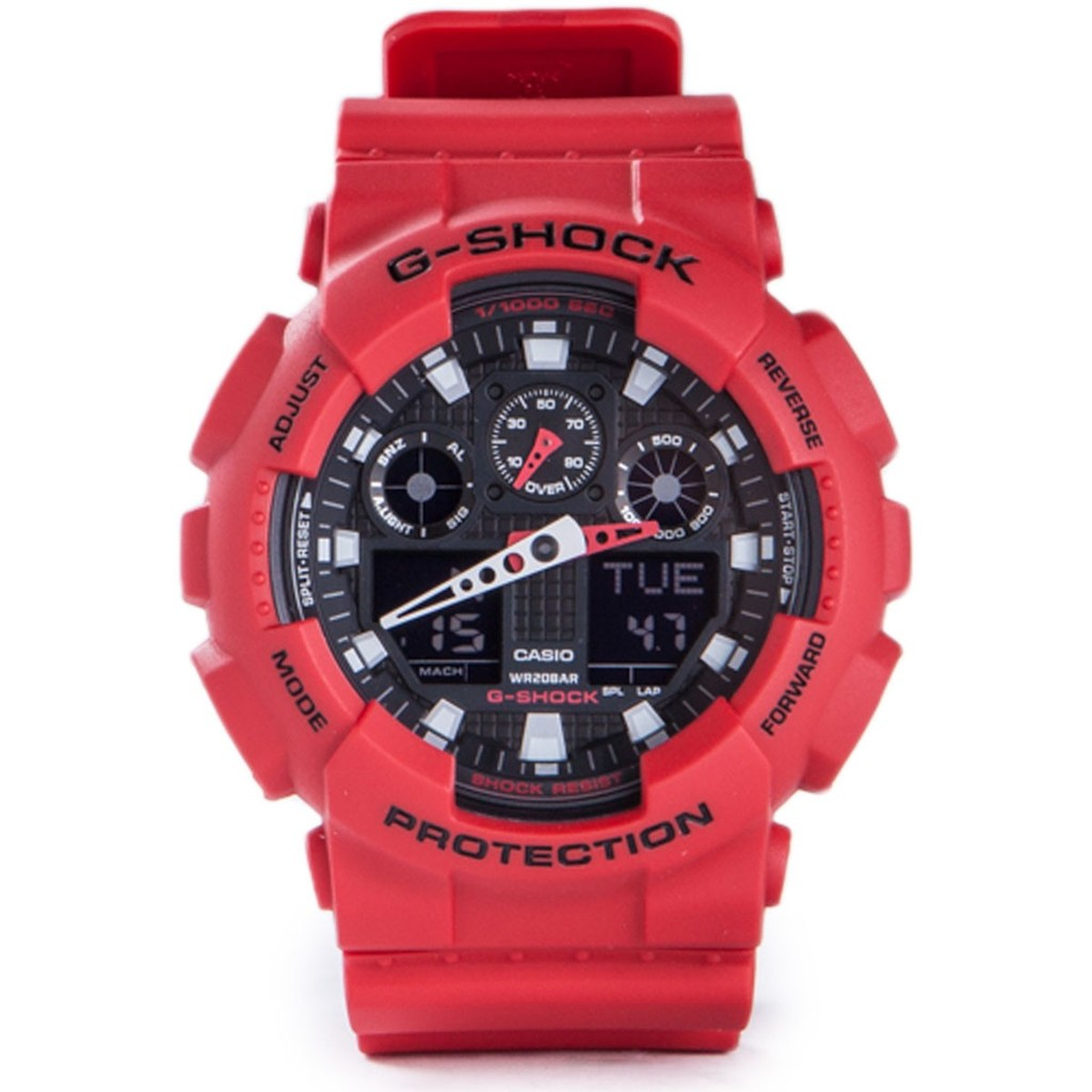 7ad8f298e930 COD G SHOCK GA100-1A4 RED GSHOCK CASIO THAILAND ORIGINAL MANUFACTURER OEM W  AUTO LIGHT