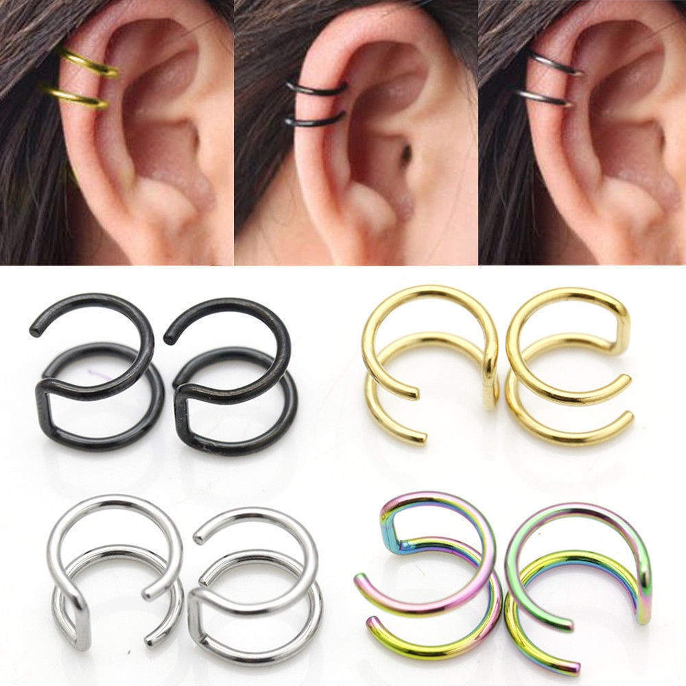 2pcs Fashion Jewelry Cuff Earrings No Pierced Ear Clip Shopee