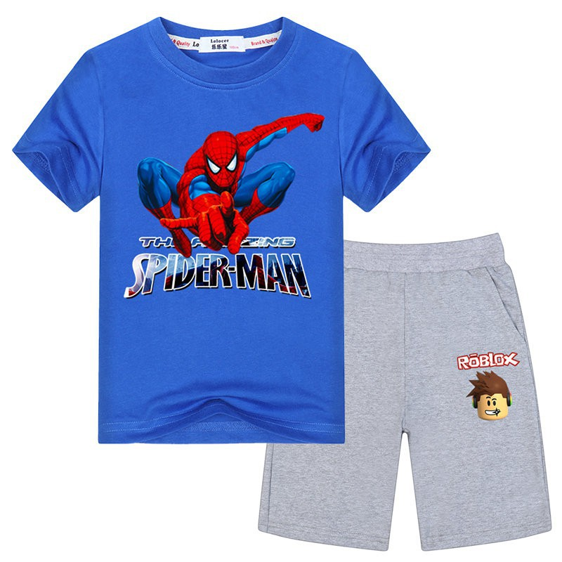 Roblox Spiderman T Shirt Boys Spider Man T Shirt And Roblox Short Pants 2pcs Set Shopee Philippines
