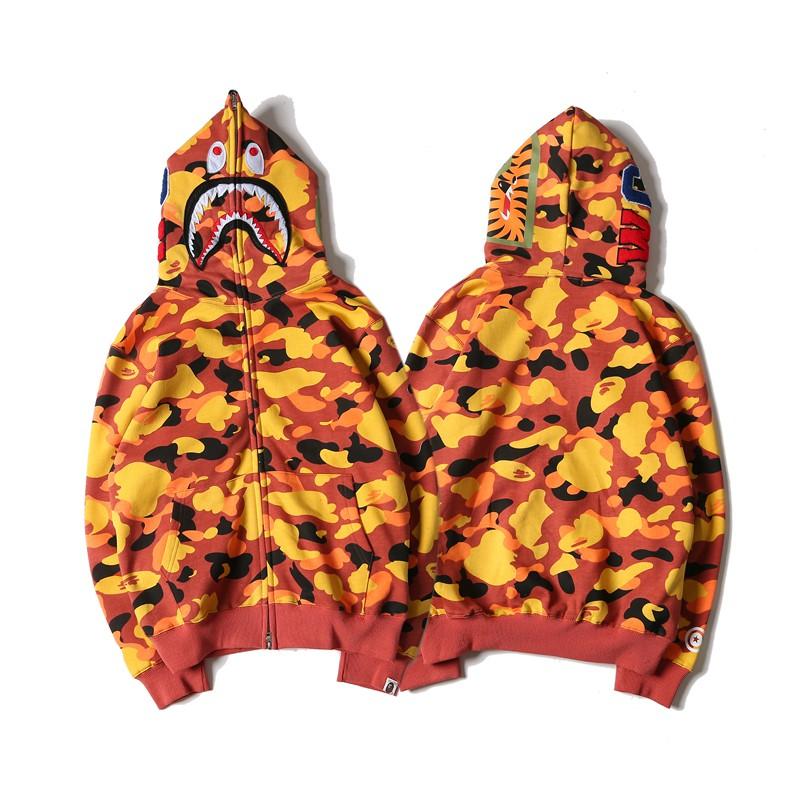 6c051bf91 Bape Orange camouflage Jackets Shark head hat hoodies   Shopee Philippines