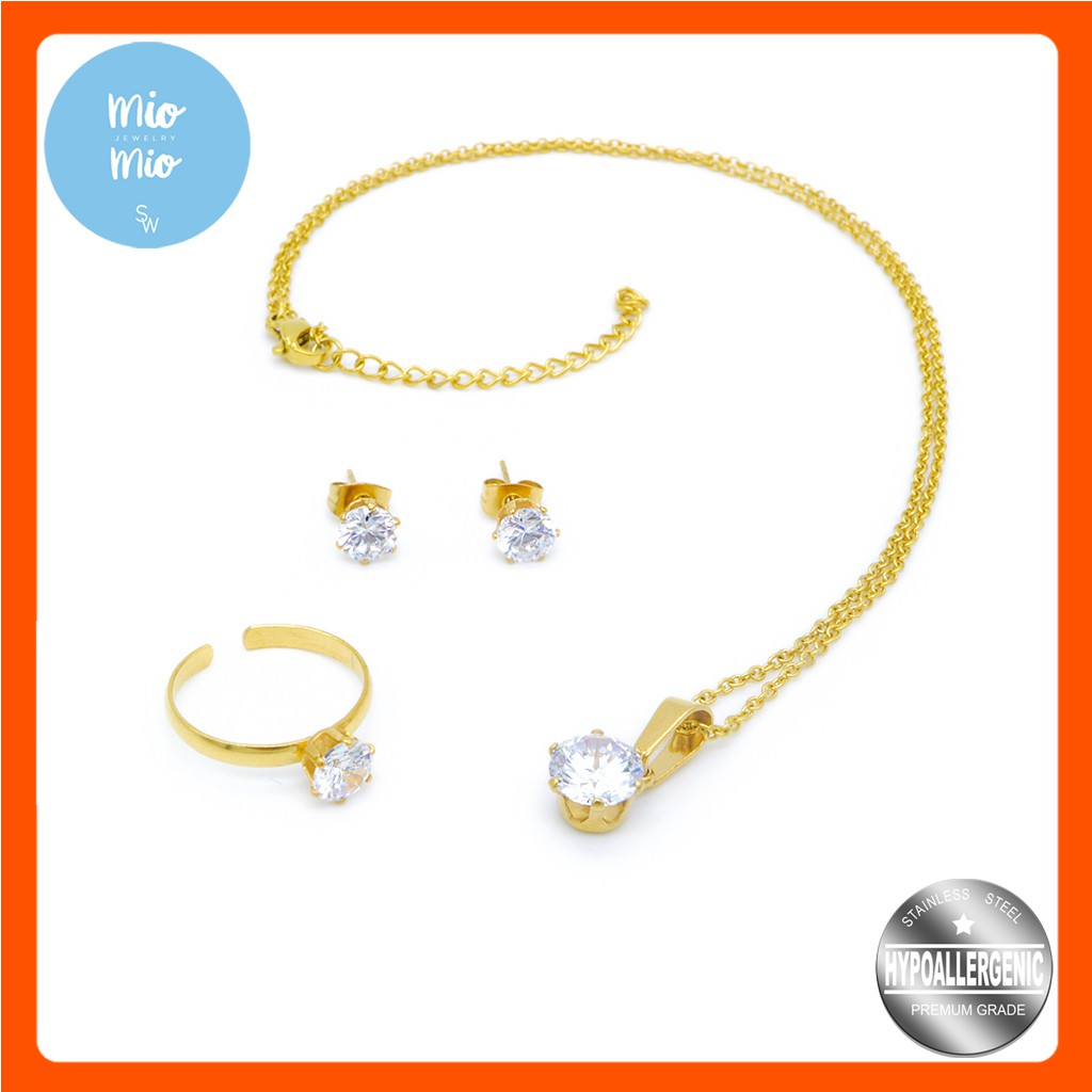 4baead8f1 Silverworks X3368 Gold Plated Diamond Set With Free Ring | Shopee  Philippines