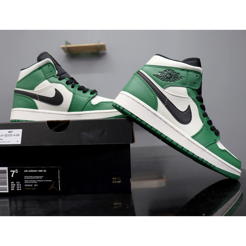 Air Jordan 1 Mid Basketball Shoes Pine Green 852542 301
