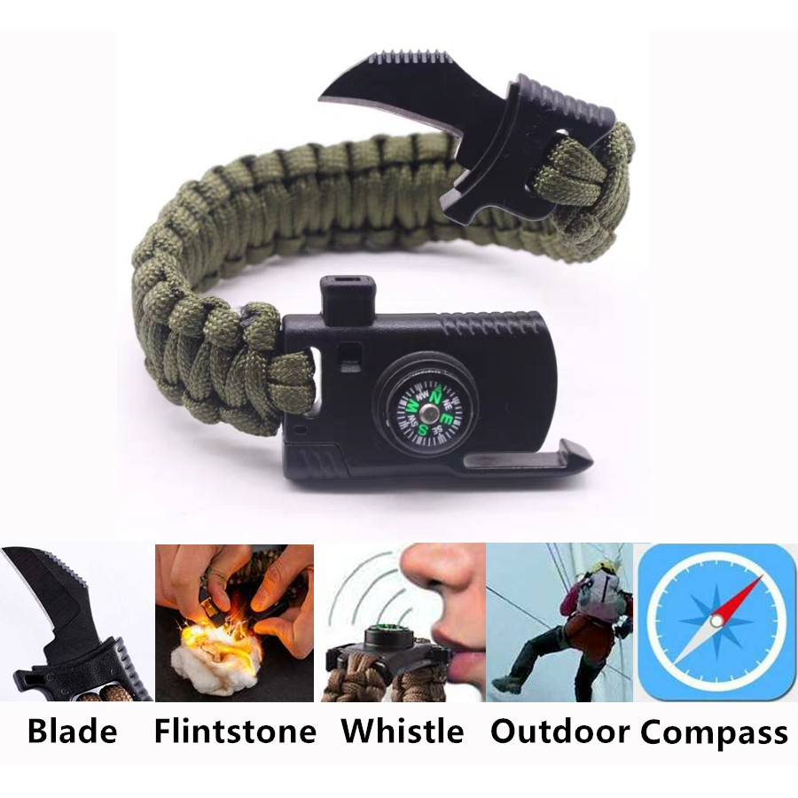 Compass Fire Starter Whistle Buckles Outdoor Survival Paracord Bracelet Buckle*1