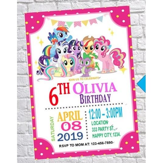 30 Pcs My Little Pony Birthday Invitation Card Party Invitation Card