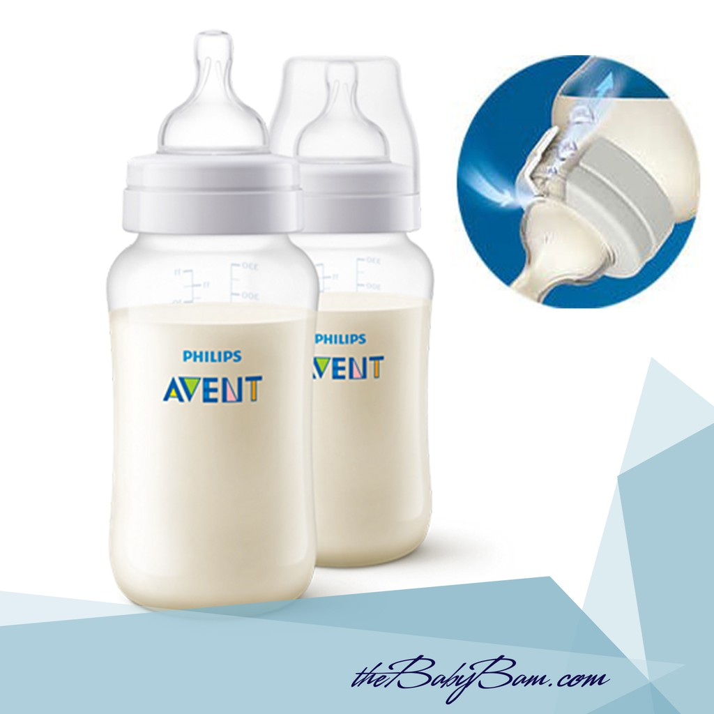 11Oz Philips Avent Anti-Colic  Baby Bottles Clear 3 Piece