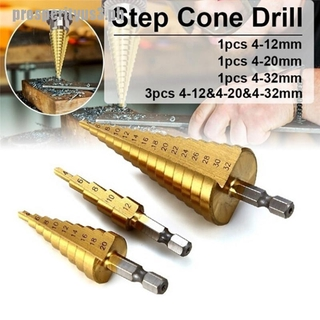 Color : 4 32 Silver HSS Steel Titanium Step Drill Bits Cone Cut Tools Spiral Grooved Center Woodworking Wood Metal Drill Bit Set 4-12//20//32mm useful