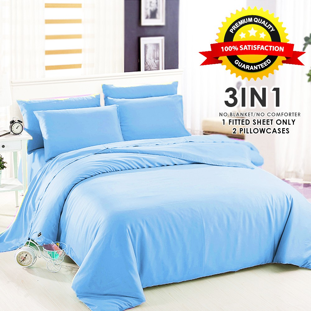 Sleep Essentials Plain Bed sheet PREMIUM QUALITY Collection 3in1 Bed sheet  only - Light Blue | Shopee Philippines