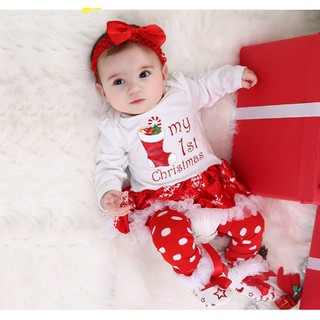 Christmas Infant Kids Baby Boy Girl Cartoon Print Sweater Shirt+Long Pants 2-9 T