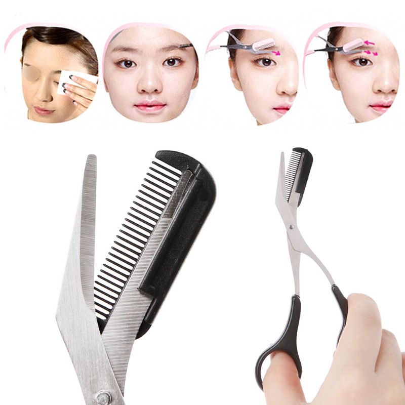 4.92 Beauty Girl Lady Women Eyebrow Scissor Comb Eyelash Eye Brow Trimmer Cosmetic Makeup Tool Shear Groom Hair Trim 12.5cm