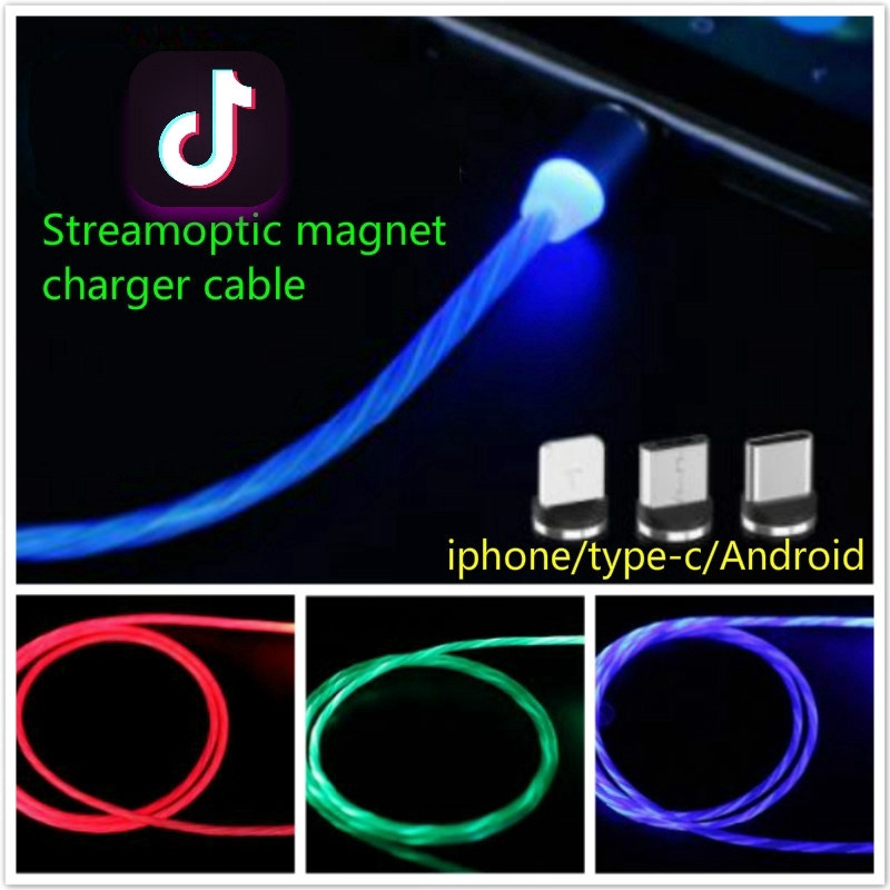 1m Tik-Tok So Cool Flow-optic 360 Degree Blind Magnetic Charging Cable for  Iphone/ Android /Type-C