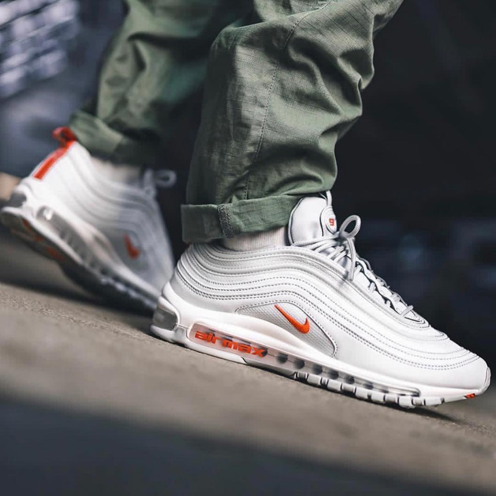 grey white and red air max 97