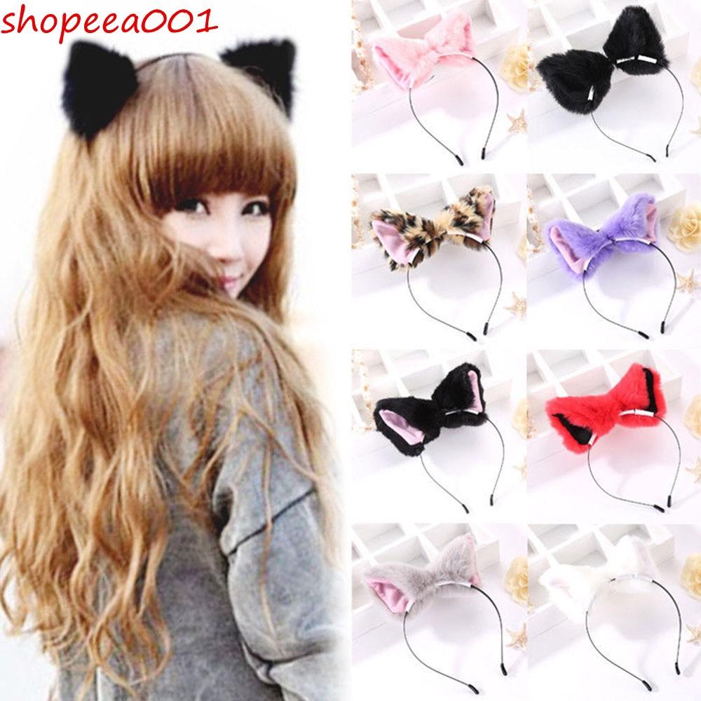 Women Girls Fox Cat Plush Ears Headband Hair Hoop Hairband Cosplay Party Costume