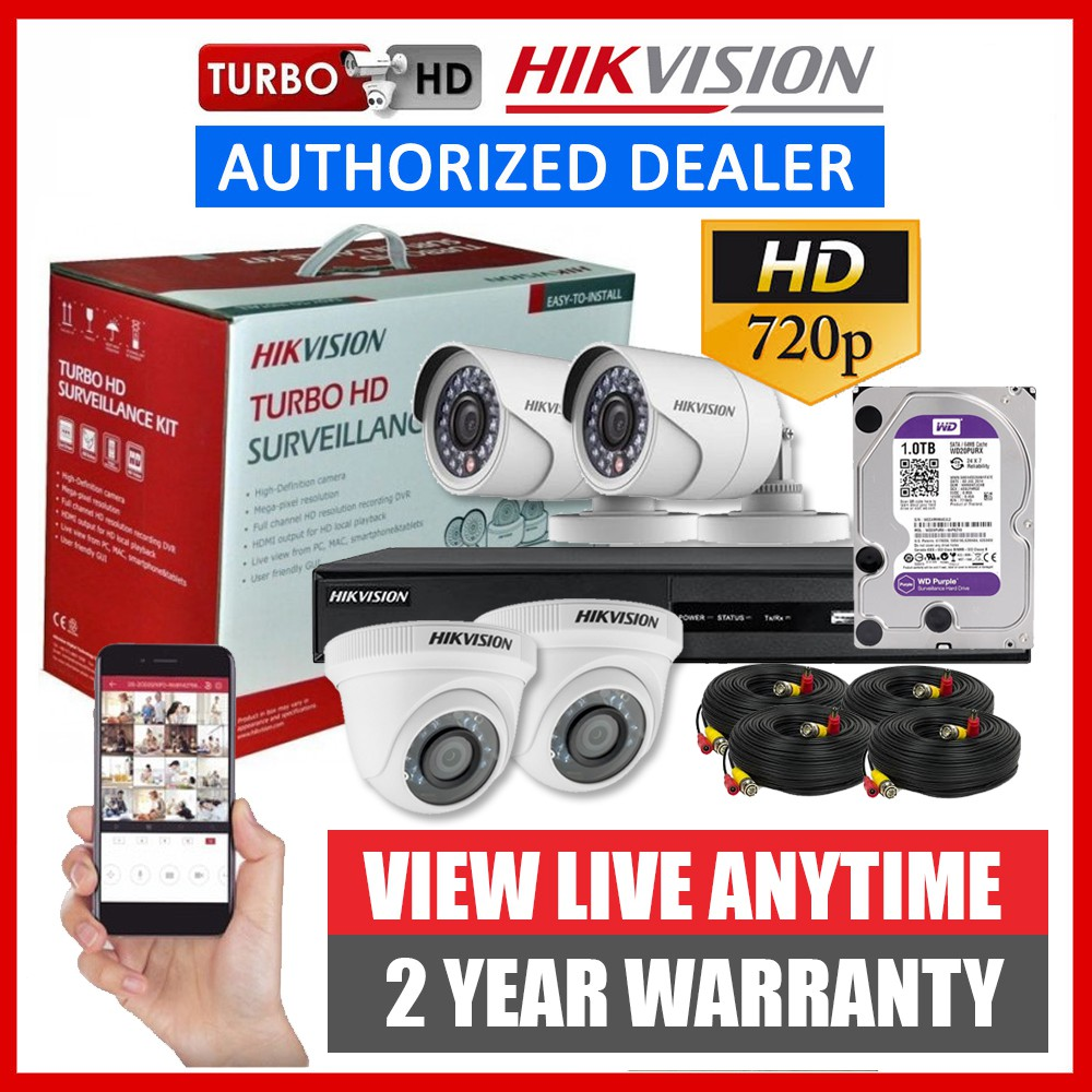 Hikvision 4CH 1MP HD CCTV Package DIY Kit 720p - 4 Camera