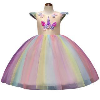 Kids Girls Flower Party Unicorn Dress Princess Wedding Bridesmaid Tutu Dresses