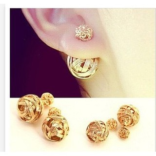 b5a3d6491 homies Double Sides Pearl Earring Two Gold Ball Stud Earrings For Girls  Gold Plated Beads Jewelry | Shopee Philippines