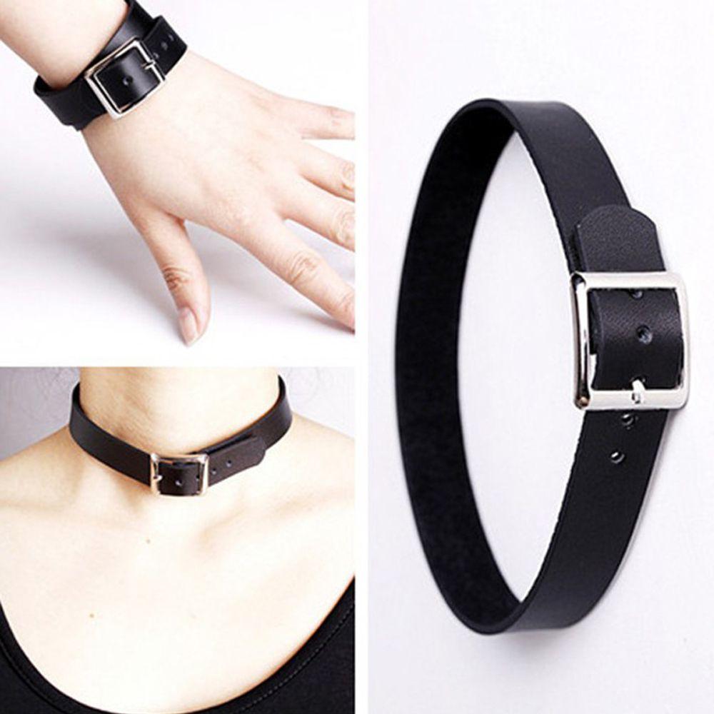 Punk Chain Necklace Collar Bracelet Leather Buckle Choker
