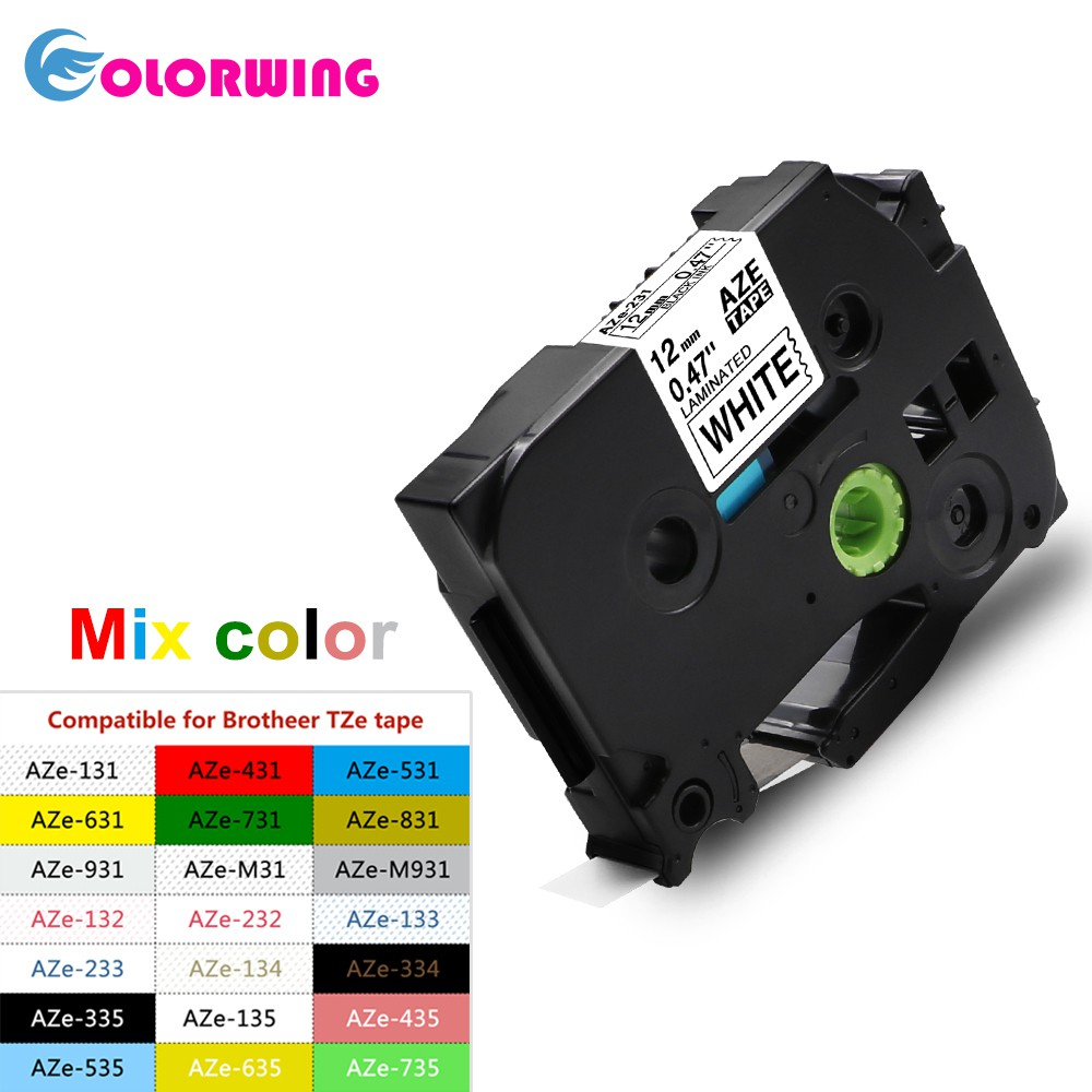 TZe 231 Compatible Brother P-Touch TZ Tape White P-Touch Label Tape 12mm  multi color combo color