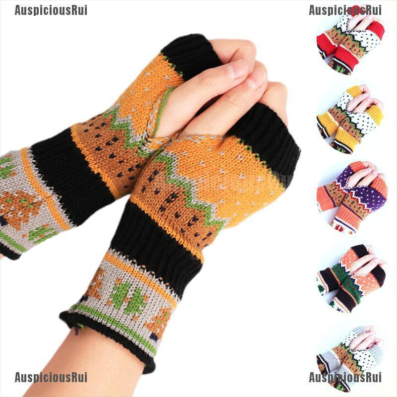 Ladies Girls Magic Fingerless Winter Warm Combo Mitten Stretch Gloves Xmas Gift