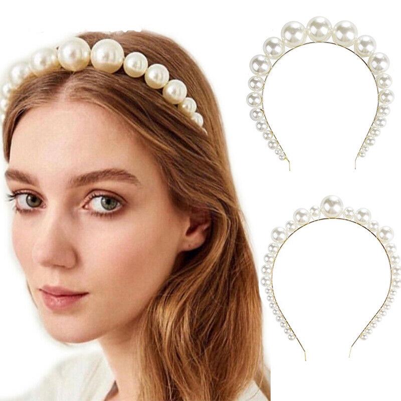 Women Double Layer Head Clip Girls Crystal Headband Fashion Pearls Hair Jewelry
