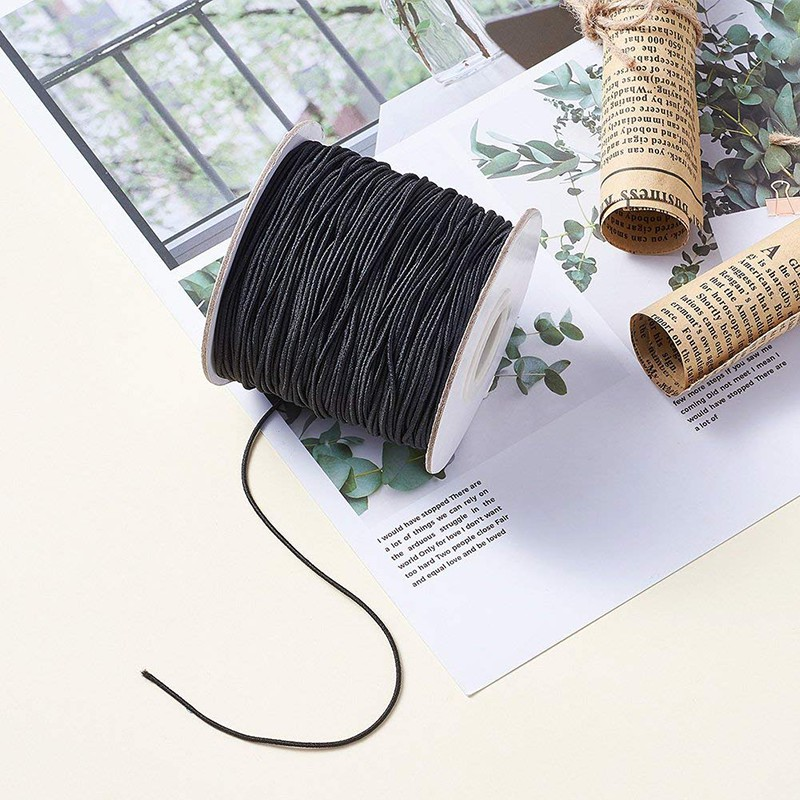 10//40M Round Black Waxed Nylon Rope Necklace Thread Line DIY Jewelry 1//1.5//2MM