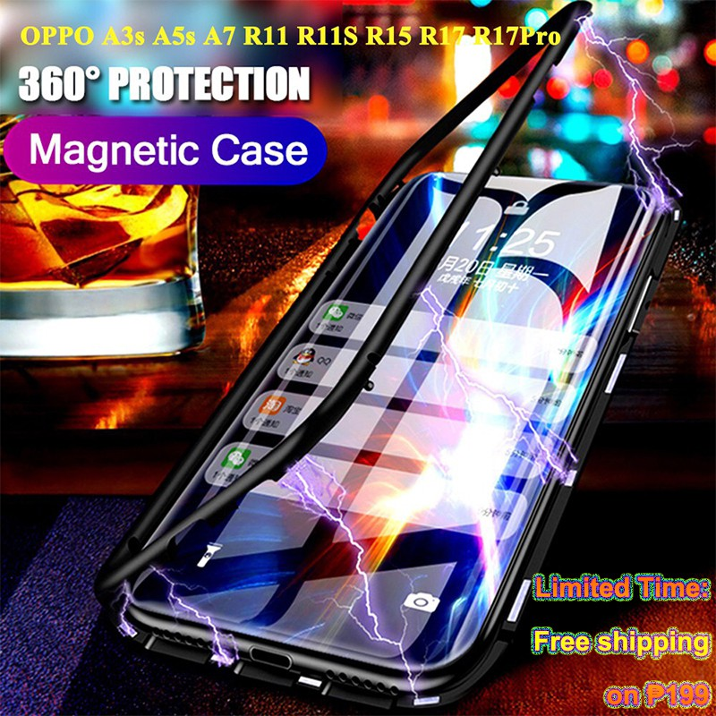 OPPO A3s A5s A7 F7 F9 F11 Pro R11 R11S R15 R17 Pro Magnetic Absorption  Metal Glass Phone Case