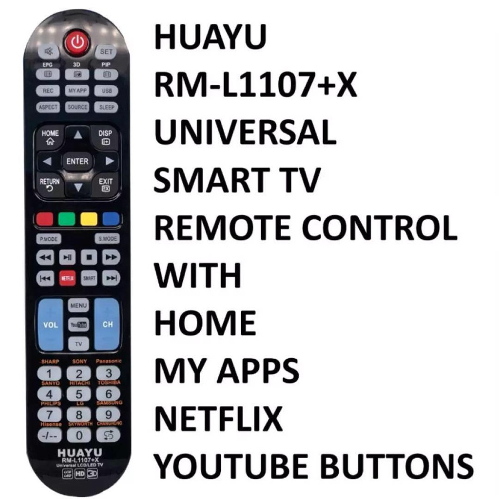 Huayu RM-L1107+X Universal Smart TV Remote Control with Home
