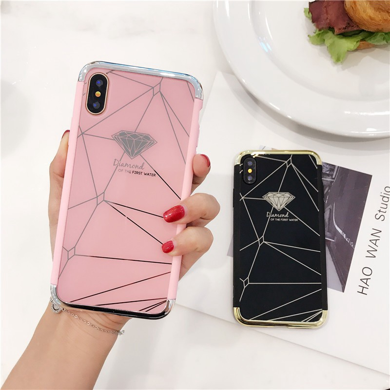 Diamond Pattern Plating Case Iphone 5 6 6s 7 8 Plus X XS XR