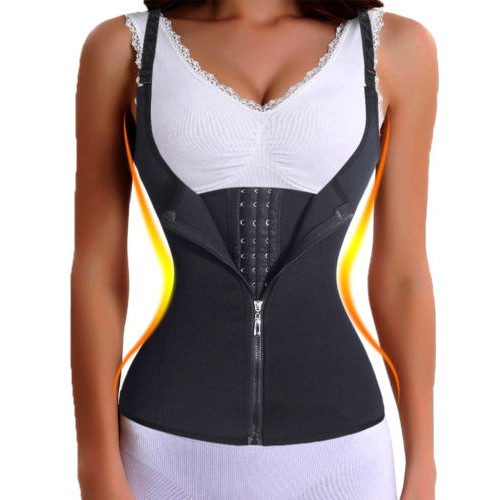 UK Underbust Corset Waist Trainer Sauna Sweat Hooks Shaper Vest Top With Zipper