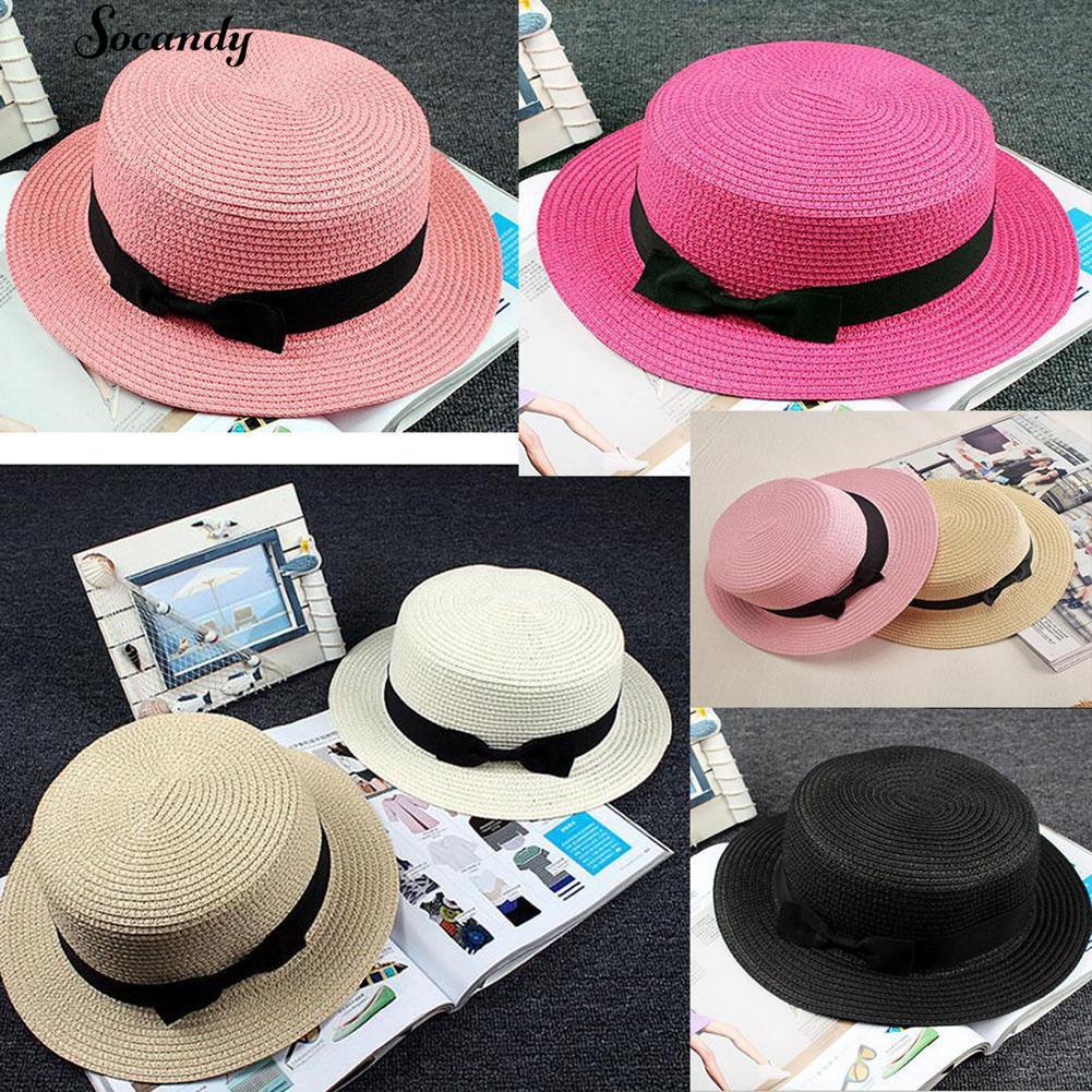 fdc36b2ddd687 NEW👒 Boater Ribbon Bowknot Round Flat Straw Sun Lady Hat